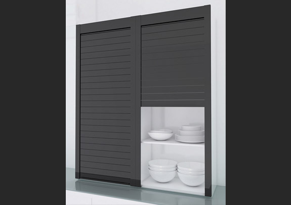Glass Roller Shutter For 600mmx1320mm Cabinet Black / White / Grey
